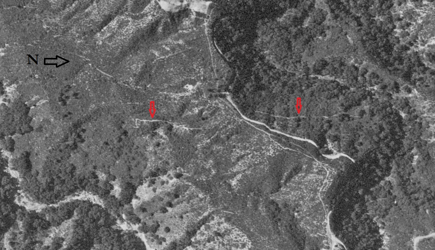 """1944 aerial photo with Robert Owens """"Uncle Bob's Trail"""", Early map showing Uncle Bob's Trail in El Prieto Canyon, courtesy of Paul Ayers"""
