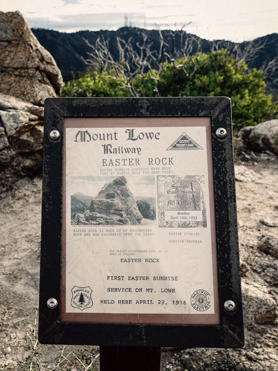 Historical signs along the Mt. Lowe Railway educate visitors within the forest