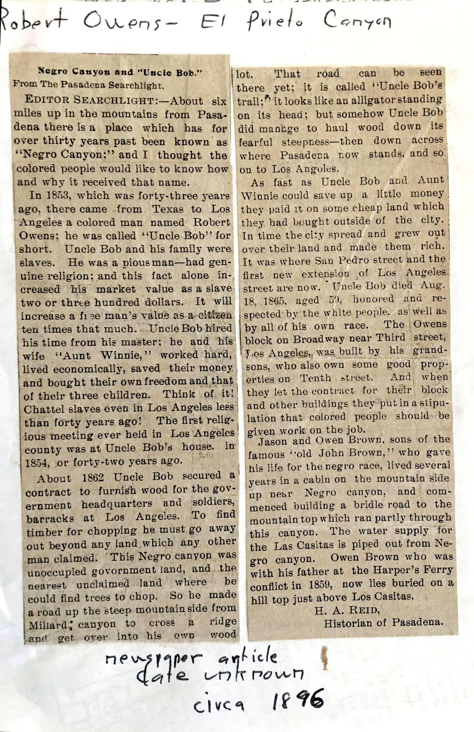 ~1896 Pasadena Searchlight article, from the USC Library John Robinson Collection via Paul Ayers