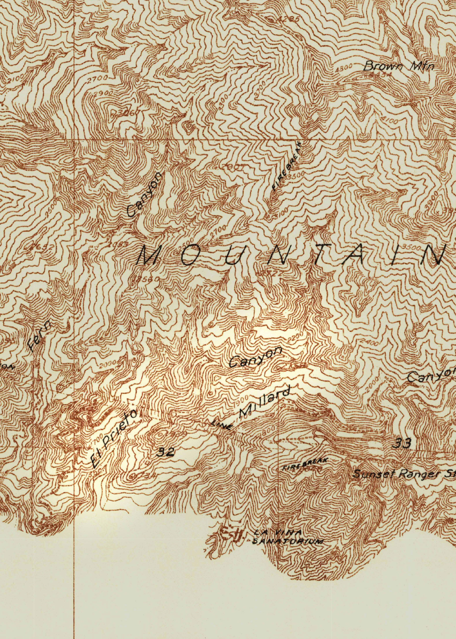 The 1934 USGS quadrangle map of the Mt. Lowe area notes the area as El Prieto Canyon