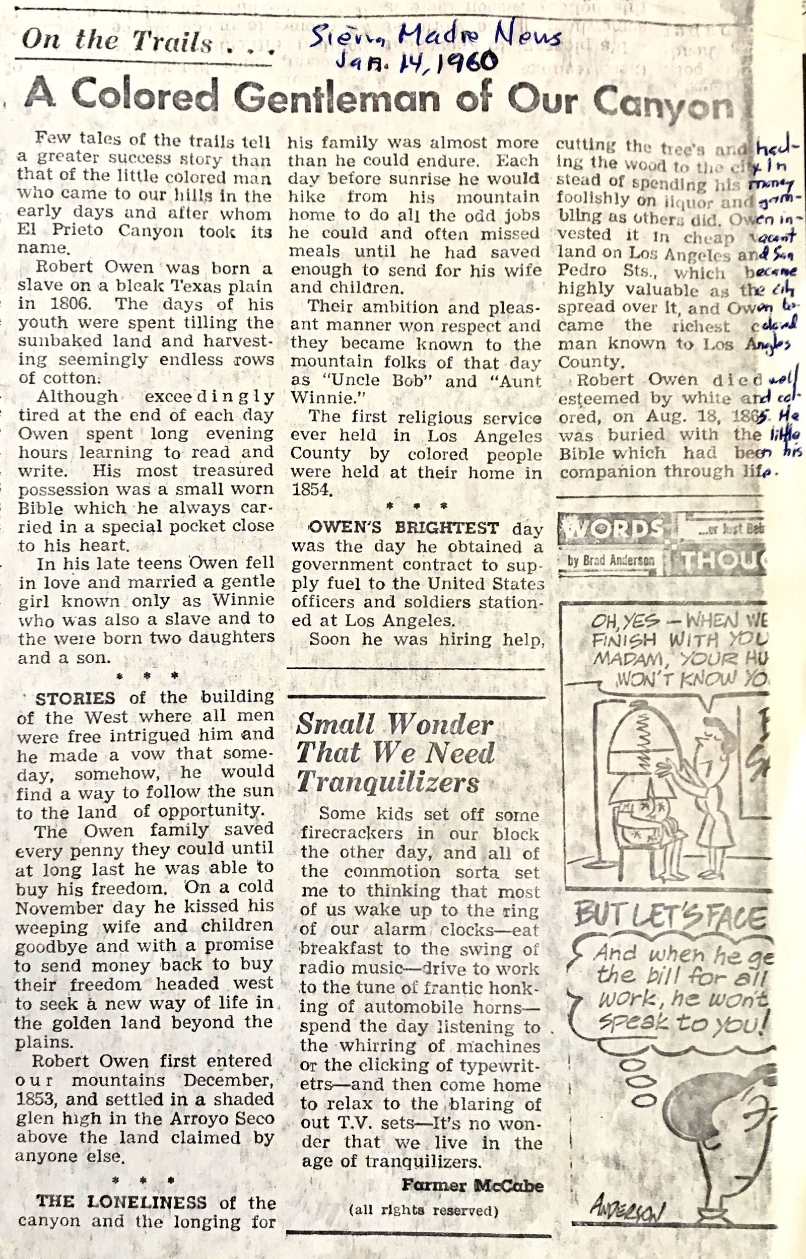 1960 Sierra Madre News article, from the USC Library John Robinson Collection via Paul Ayers