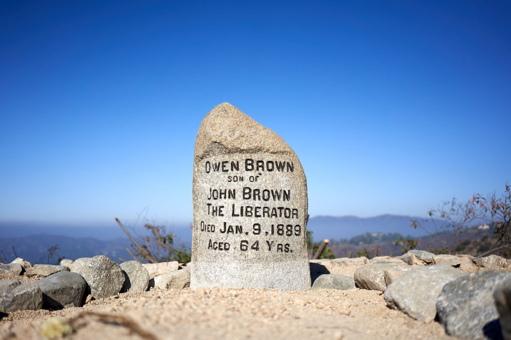 The Owen Brown gravesite overlooks El Prieto Canyon and is undergoing restoration by LA County, Altadena Heritage, and local trail advocates.